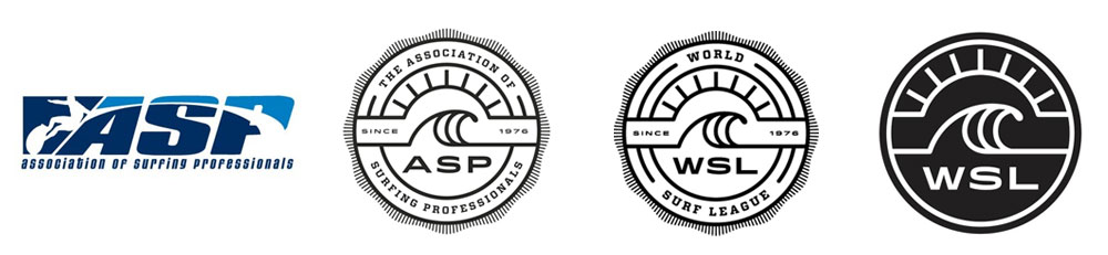 World Surf League Association of Surfing Professionals Be Visual rebrand brand logo